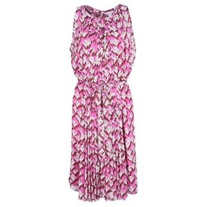 DVF Pink Floral Print Pleated Sleeveless R…